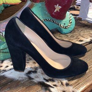 J Crew Black Suede Heels Size 10